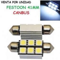 Festoon Canbus 6 LED 41MM 5050 SMD BLANCO FRIO