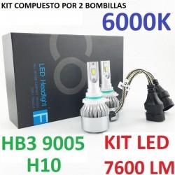 KIT BOMBILLAS HB3 H10 9005 LED 7600 LUMENES 12/24V COCHE FURGONETA