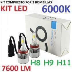 KIT BOMBILLAS H8 H9 H11 H16 LED 7600 LUMENES 12/24V COCHE FURGONETA