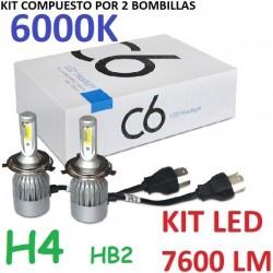 KIT BOMBILLAS H4 9003 HB2 LED 7600 LUMENES 12/24V COCHE FURGONETA