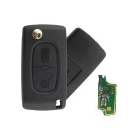 Llave Circuito Mando y Chip Transponder Citroen Peugeot 2 Botones Ref. A