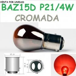 Bombilla P21/4W S25 BAZ15d 7225 Rojo Luz Posición y Freno Cromada